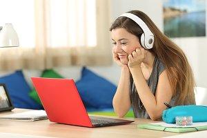 Student listening media content