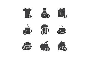 Commercial items glyph icons set