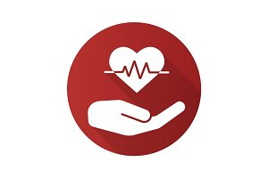 Heart care flat design long shadow glyph icon