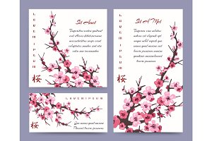 Sakura blossoms cards templates