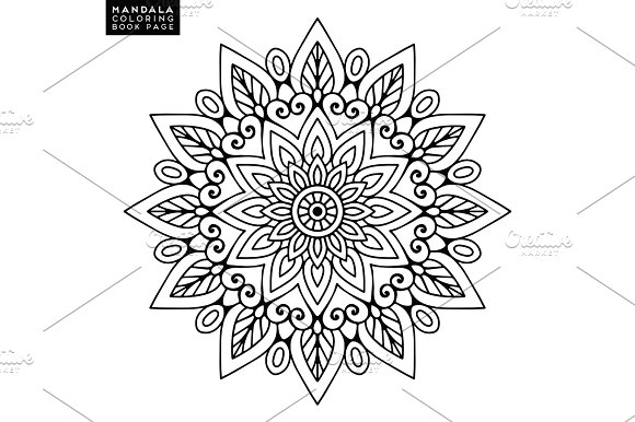 Flower Mandala Vintage Decorative Elements Oriental Pattern Vector Illustration Islam Arabic Indian Moroccan Spain Turkish Pakistan Chinese Mystic Ottoman Motifs Coloring Book Page