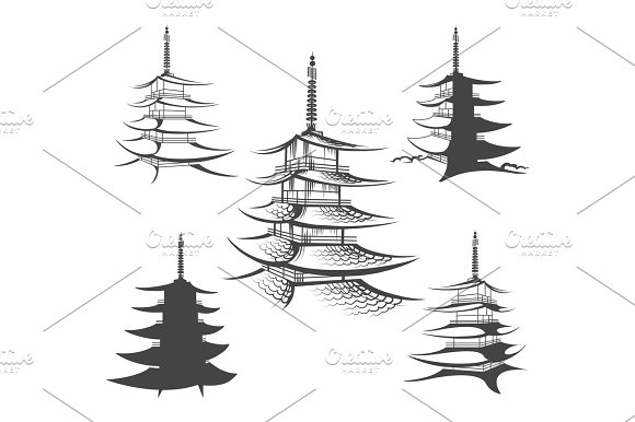 Asian Pagoda Or Buddhist House Set