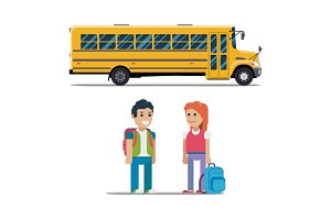 Children get on school bus. Vector flat illustration