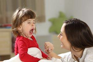 Toddler yawning after nap