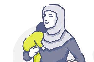 Hijab woman with sleeping baby