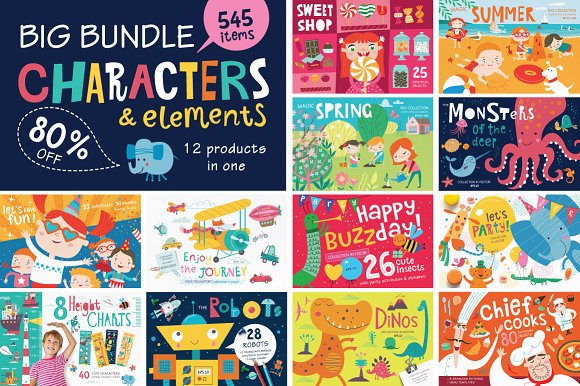 BIG BUNDLE Characters Elements