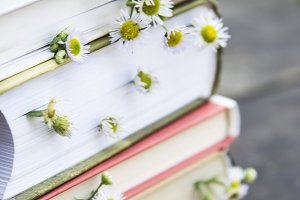 Books with wild flowers on the table