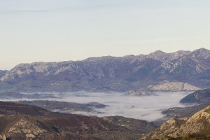 Pano landscape mountains and fog