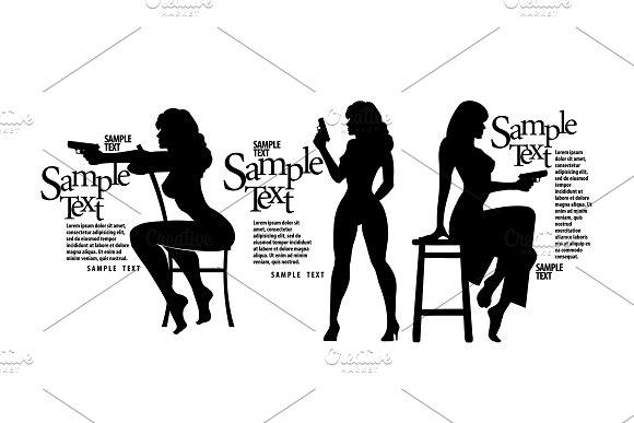 Silhouettes Girls With A Gun
