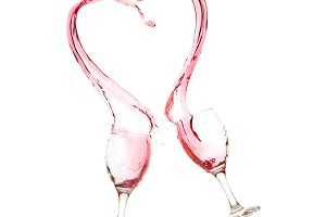 Cup of red wine valentine heart