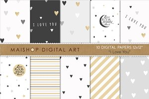 Digital Paper - I Love You