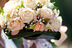 Wedding peach-coloured bouquet