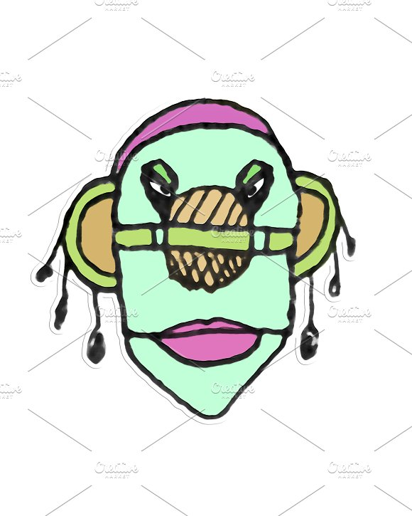 Tribal Style Colored Face Illustration