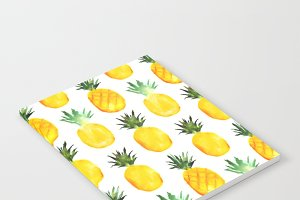 Pineapples watercolor pattern