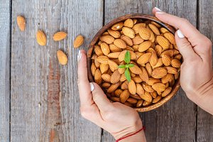 almond nut in a wooden bowl