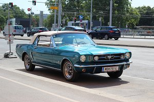 Luxury retro car. Ford Mustang 1965