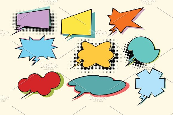 Set Of Colored Comic Bubbles With Halftone Effect