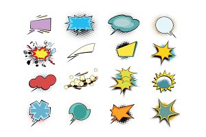 set of colored comic book bubbles isolated on white background