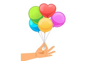 Balloon set in human hand
