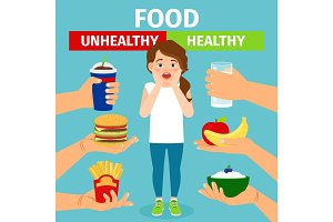 Healthy and unhealthy food choice