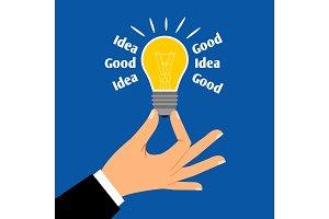 Good business idea light bulb concept