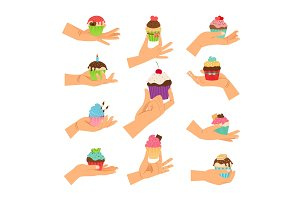 Hands holding decorated cupcakes set