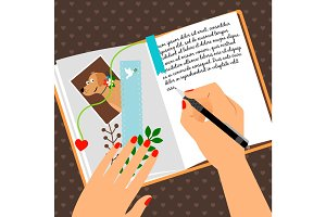 Girls diary scheduler with bookmark