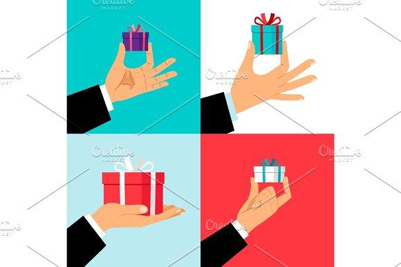 Hand Holding Small Gift Box Set