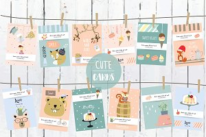 12 cute lovely design animal cards5#