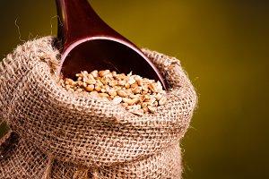 Wheat in burlap sack