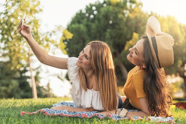 Friends having fun in the park.