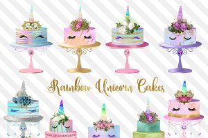 Rainbow Unicorn Cakes Clipart