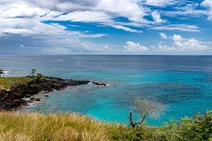 Sao Tome Island blue lagoon panorama