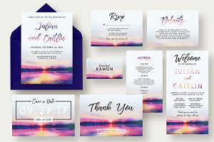 Sunset Lake Wedding Invitation Suite