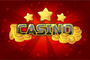 logo text casino and gold coins, For Ui Game element