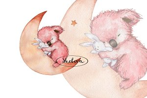 Sleeping Koala bear-2. Watercolor