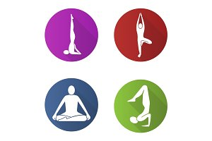 Yoga asanas flat design long shadow glyph icon