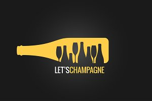 champagne bottle logo design