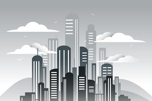 Retro megalopolis in art deco style.