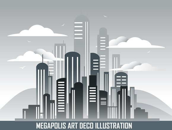 Retro Megalopolis In Art Deco Style