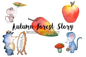 Autumn Forest Cute Animals Clipart