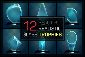 Glass trophies big set
