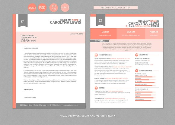 Resume CV and Cover Letter Set ~ Resume Templates ~ Creative Market