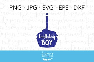 Birthday Boy Cupcake SVG Cut File