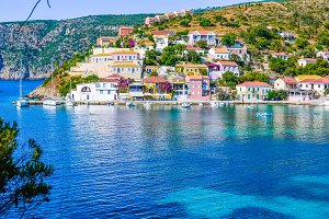 Assos village in beautiful azure cove in Kefalonia, Greece