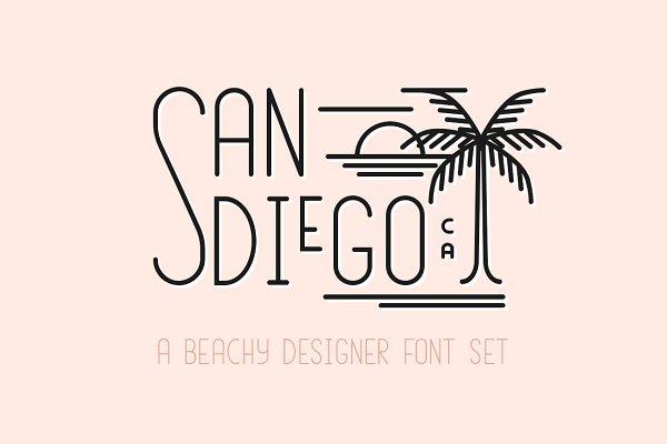 San Diego | Beach Font Set