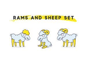Rams amd sheep set linear style. Character animal
