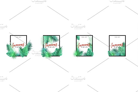 Summer Design Frame Layout Poster Sale With Palm Branches