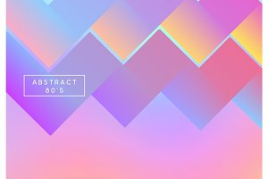 Retro holographic background, cover, flyer. Backdrop colorful gradient.