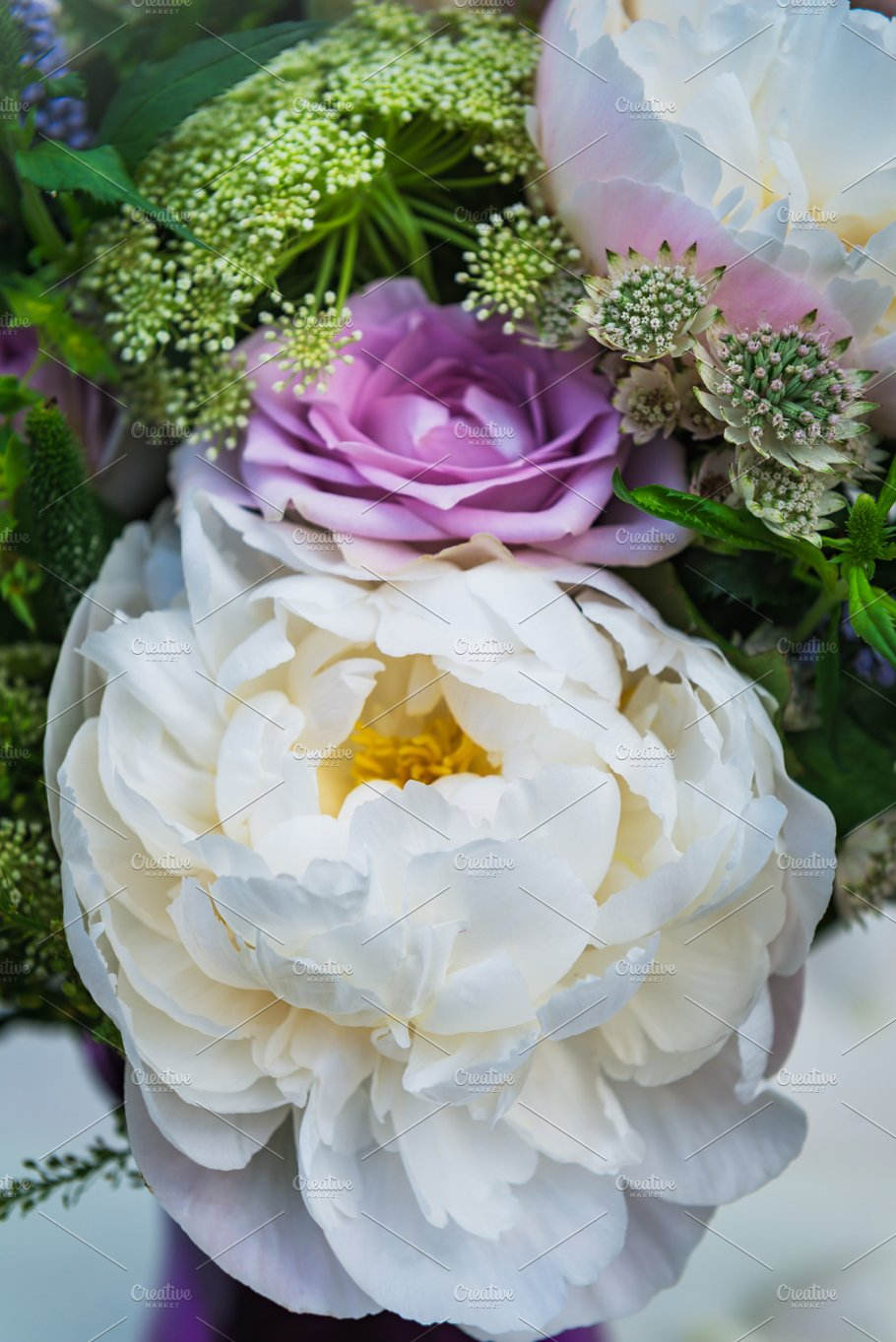 Bouquet Of Flowers From Big Peonies And Pastel Roses Holiday